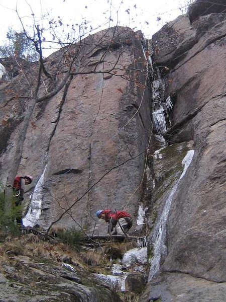 Rock Climbing Photo: A bit too early in the season, we TR'd the route t...