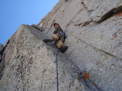 Rock Climbing Photo: Crux dihedral on Lowe Rt. Lone Pk.