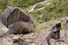 Rock Climbing Photo: close up detail of 2 boulders.  Upper boulder is a...