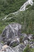Rock Climbing Photo: Lower talus field.  Boulder is approx. 40 foot tal...