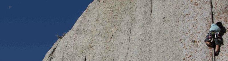 Rock Climbing Photo: Shiho Kobayashi cranking the finger crack.