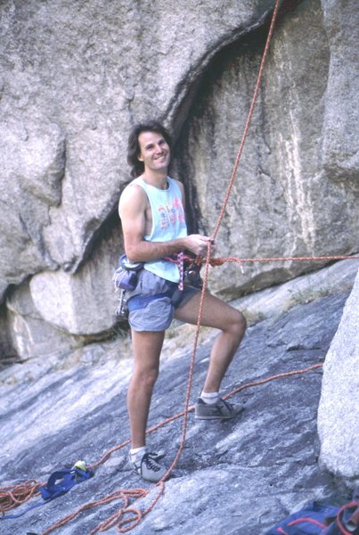 Doug Heinrich belaying on Frozen Stool, sometime in the '80s