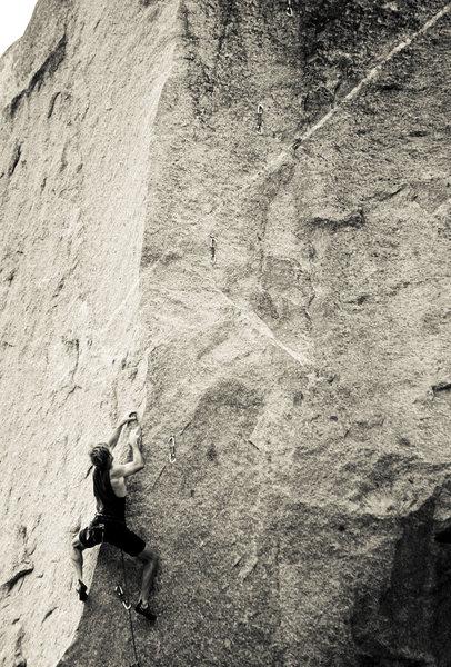 Rock Climbing Photo: db on Orange Crush, '98. Credit: Dan Morris