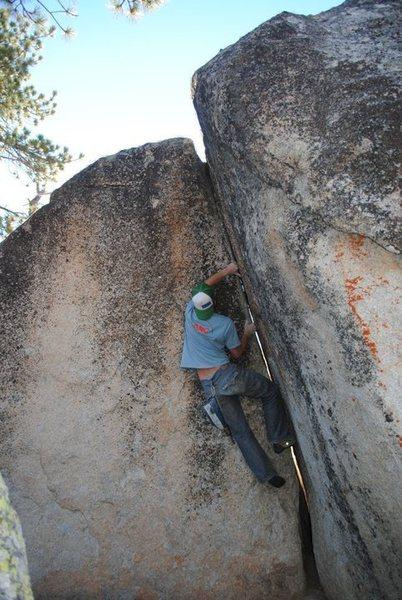 Rock Climbing Photo: v4 FA. Joe De Luca