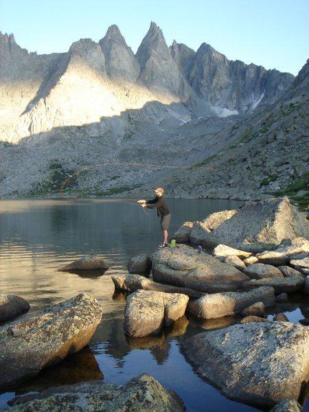 Rock Climbing Photo: Mike fishing at Shadow Lake in evening light.  Thi...