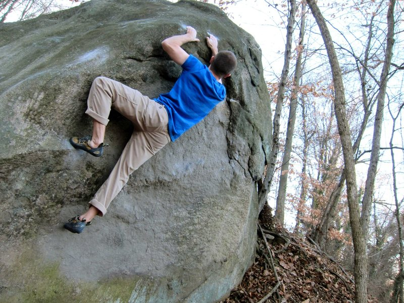 Rock Climbing Photo: Move toward rail at the apex of the boulder.