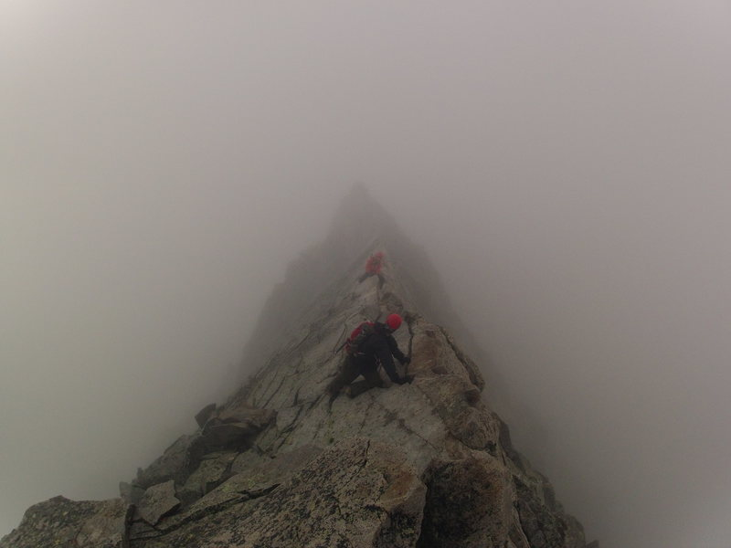 Crossing the knife edge.  What a rush!!! I'm glad that it was foggy so I didn't have to see the exposure. I'm in the orange.