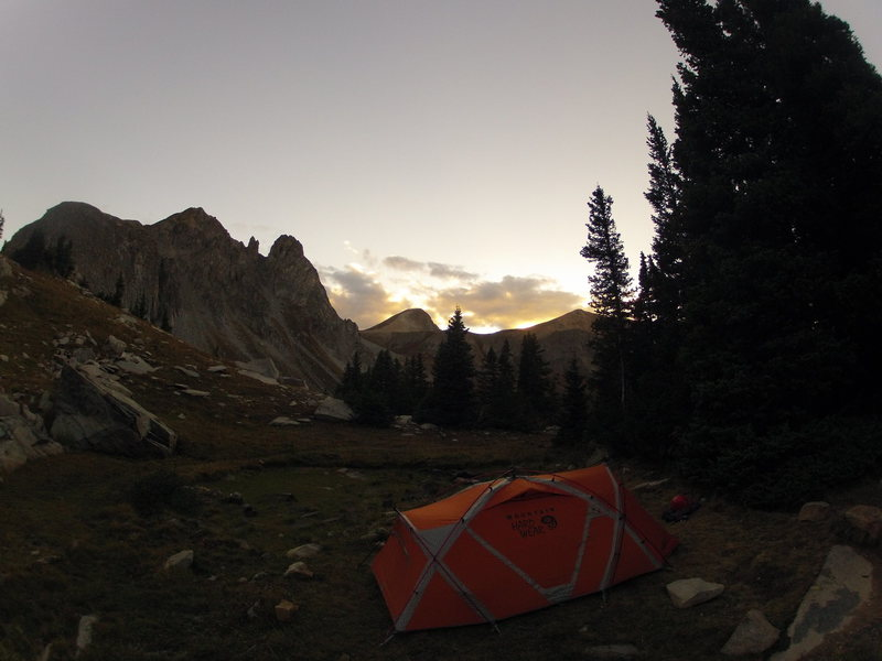 A nice picture of the new tent!  Good for advertising haha.  beautiful evening at Capitol lake.