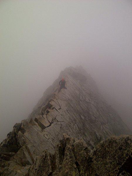 Rock Climbing Photo: My buddy Rick crossing the knife edge.