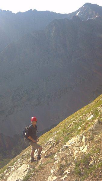 Rock Climbing Photo: My buddy Brandon on the steep slopes heading up No...