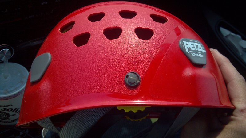 Believe it or not that scratch on the gray circle on my helmet is from a grapefruit sized rock.  Almost missed my helmet completely and took out my face!!  The grassy slopes of Maroon look inviting but they are still extremely dangerous due to loose rocks.