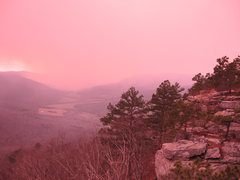 Rock Climbing Photo: Sam's Throne, Arkansas. Forest fire nearby, we had...