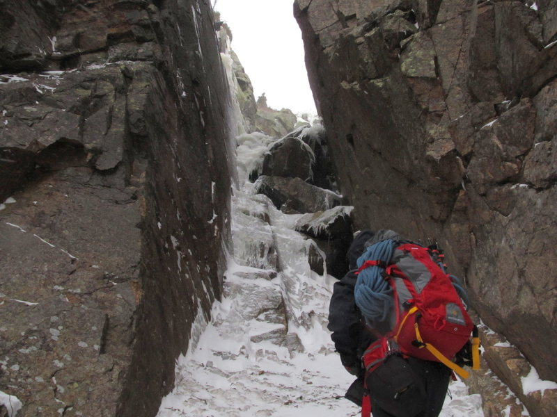 Rock Climbing Photo: the rock step covered in ice