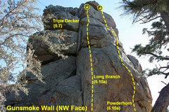 Rock Climbing Photo: Gunsmoke Wall (NW Face), Holcomb Valley Pinnacles