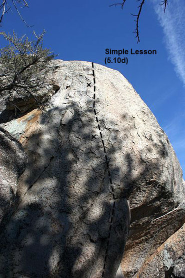 Rock Climbing Photo: Simple Lesson (5.10d), Holcomb Valley Pinnacles