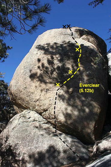 Everclear (5.12b), Holcomb Valley Pinnacles