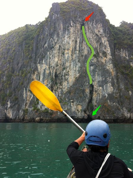 Starts in the cave marked by the green arrow, easier at low tide. Just follow the bolts.