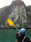 Rock Climbing Photo: Starts in the cave marked by the green arrow, easi...