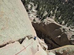 Rock Climbing Photo: Rob following the traverse pitch.
