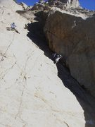 Rock Climbing Photo: James leading Rhodian Shores (Dave in the shadow, ...