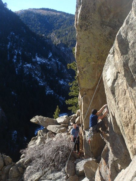 Rock Climbing Photo: James through the crux of Fat Tuesday.