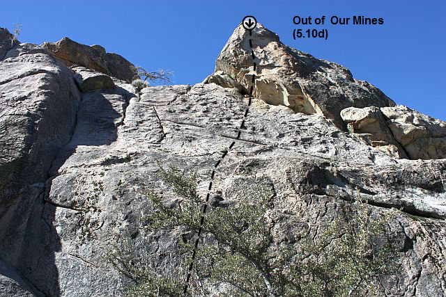 Rock Climbing Photo: Out of Our Mines (5.10d), Holcomb Valley Pinnacles