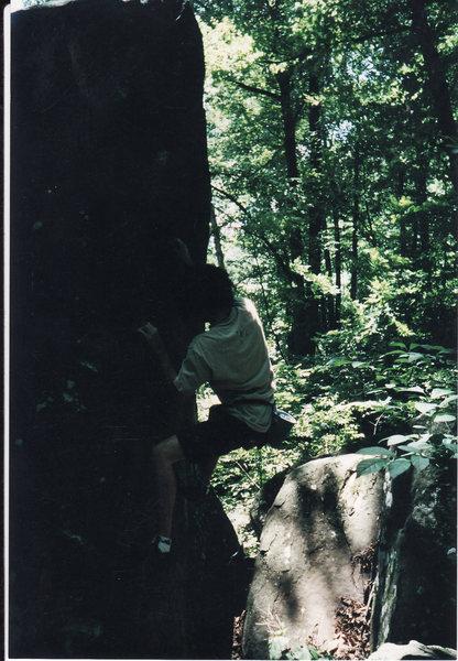 5.9 arete on Hang Ten boulder.  June 15, 2001