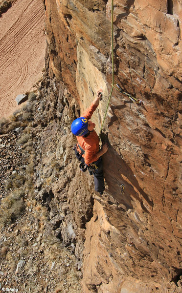 Near the midway point<br> Gopher Broke (5.10)
