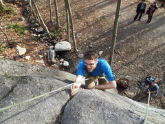 Rock Climbing Photo: Stem up the corner, then jam up the crack