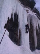 Wayne Pullman midway up the Icemate pillar.
