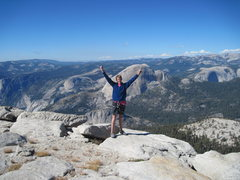 Rock Climbing Photo: me at the top of starr king with half dome and wat...