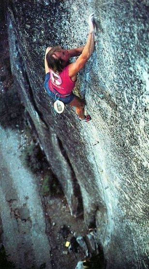Todd Skinner on The Stigma (5.13), Yosemite Valley<br> <br> Photo: Skinner Collection