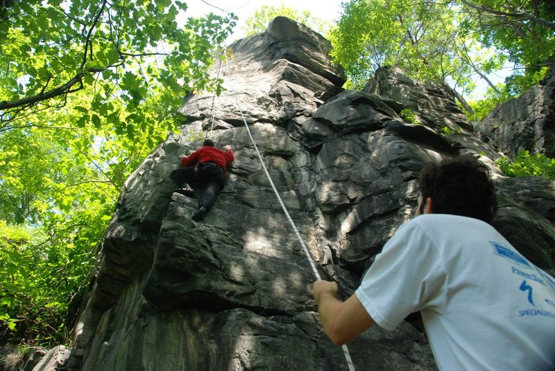 Good, fun climbing. You can do either a face route or stay more left and do an arete/crack route.
