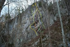 Rock Climbing Photo: Topo of the known lines (Feb 2013)