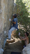 Rock Climbing Photo: Mike Newheart sets up for the final dyno, with Mik...