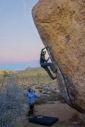 Rock Climbing Photo: Working the moves on White Rastafarian at sunset i...