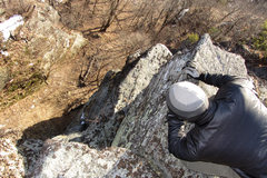 Rock Climbing Photo: jared looking way down off of summit crag in to th...