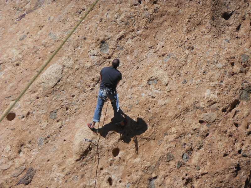 """Rock Climbing Photo: Working the moves at the crux of the """"Green M..."""