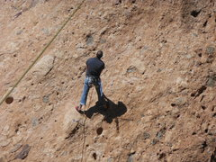 "Rock Climbing Photo: Working the moves at the crux of the ""Green M..."