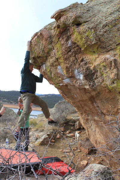 Rock Climbing Photo: Trying to cut my fingers off!  Don't dyno to this ...