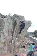 Rock Climbing Photo: Sarah topping out.