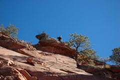 Rock Climbing Photo: Locker at the anchors on the little roof at the en...