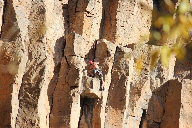 Rock Climbing Photo: pulling onto the chockstone roof