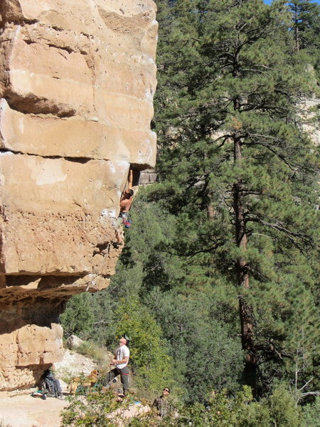 Rock Climbing Photo: ammon belaying, getting up to lower crux
