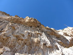 Rock Climbing Photo: high up and in the jugs on tufa yard dash 11c