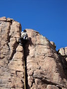 Rock Climbing Photo: George ascends the crack.  He is just below the cr...
