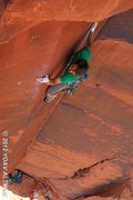 Rock Climbing Photo: Eyeballin' the crack switch on Sinestra.   Photo: ...
