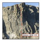 Rock Climbing Photo: This shows the line of the climb.