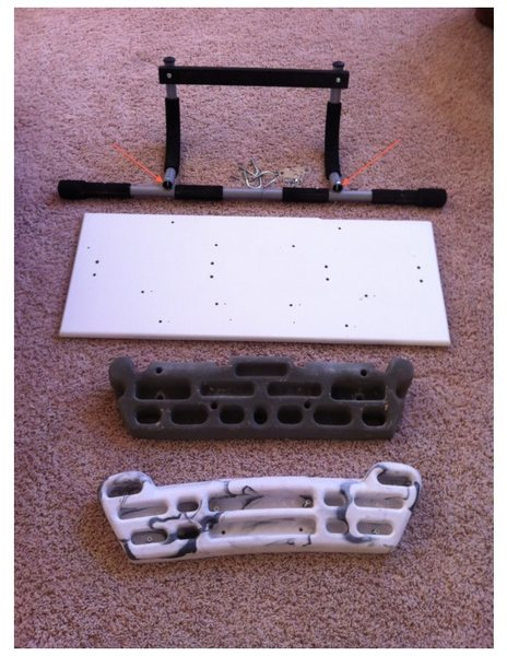 Rock Climbing Photo: Parts needed for homemade fingerboard mount