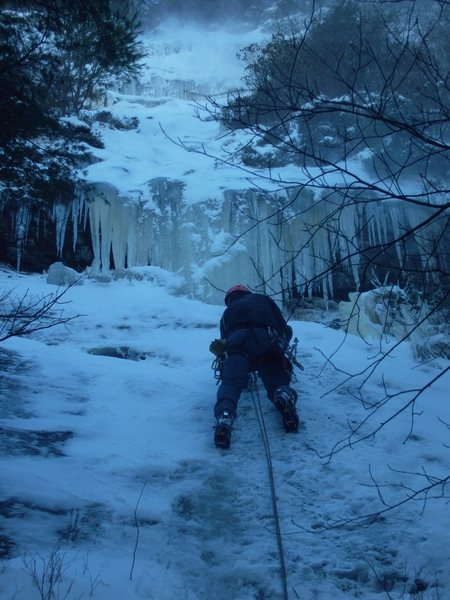 Rock Climbing Photo: Shannon on Coyote Ugly. Check out the blowing snow...